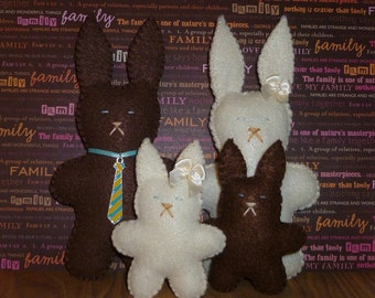 Plush bunny family brown bunnies toys gift for a child