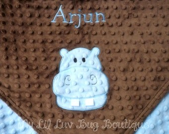 PERSONALIZED baby blanket minky , baby hippo blue and brown- large stroller blanket