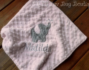 Personalized minky baby blanket- baby girl pink and grey elephant- lovey blanket