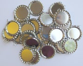 DESTASH - Flat Silver Bottle Caps with Jump Rings Attached - 60 Count