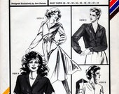 Uncut Stretch and Sew Pattern 1599 Classic Shirtwaist Dress Blouse Fit and Flare Dress Retro 28-44 1981 Stretch n Sew Ann Person