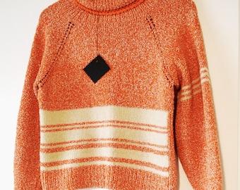 Vintage 1970s jumper/hand knitted pullover/orange & cream stripe/retro stripe top/retro chic/geek chic/hipster/Lacoona original/raglan