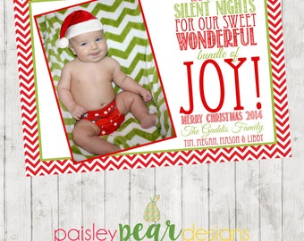 We Traded Silent Nights - Christmas Photo Card - Joy - Babies First - DIGITAL FILE AVAILABLE