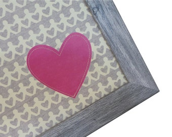 Magnet Board - Magnetic Memo Board - Dry Erase Board - Framed Bulletin Board - Wall Decor - Stitched Heart Design - incl. magnets