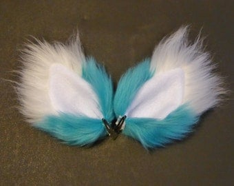 Turquoise Blue and White Faux Fur Ears Fox Cat Wolf Dog Clips Halloween Costume Cosplay
