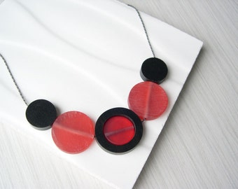 Red Necklace - Wood Anniversary Gift, Ebony, Resin Jewelry, Geometric, Modern, Holiday, Nickel Free Sterling Silver Option