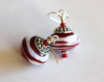 GLASS BEAD EARRINGS-Red White Stripe Earrings, Under 20, Birthday Gift for Her, Spring Summer Earrings, Artisan Earrings, Handmade Earrings