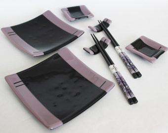 SUSHI SET - Purple Black Sushi Set with Chopsticks, Under 75, Japanese Dish, Fused Glass, Modern Dinnerware, Purple Glass Dish, Wedding Gift