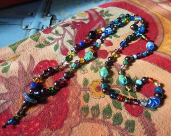 Handmade Glass Beaded Knotted 108 + 1 vintage and new blown glass Mala Prayer Necklace