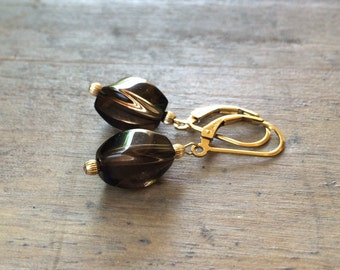 Brown smoky Quartz earrings.  Gold fill leverbacks. Petite earrings