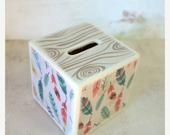 MOTHERS DAY SALE Feathers Wood Bank , Kids Piggy Bank, Wooden Bank, Coin Box, Nature, Bohemian, Money Box, Wood Coin Bank, Colorful, Childre