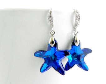 Bermuda Blue Beach Wedding Jewelry, Starfish Earrings, Destination Wedding Earrings, Beach Wedding Earrings, Swarovski Bridesmaid Earrings