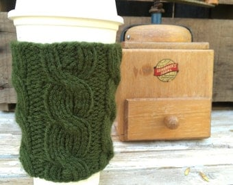 Coffee Cup Cozy, Coffee Mug Cozy - Cable Knit Coffee Cup Sleeve in Olive Green