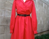 ON SALE Vintage / 60s / Hot Pink / Mad Men / Long Seeve / Dress / SMALL
