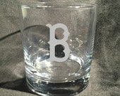 BOSTON  Red Sox Etched Rocks / Whiskey Glass