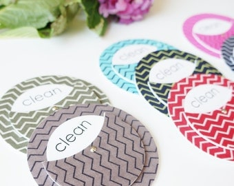 Clean Dirty Dishwasher Magnet - Clean Magnet - Dirty Magnet - Chevron Magnet - Zig Zag Magnet - Chevron Decor - Gifts for Roommates - Home