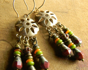 Tribal Jewelry Boho Southwestern Brass Chandelier Earrings Rustic Green Orange Brown