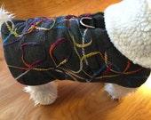 Next Day Ship, Size XS, Small Stout, Harness Jacket  Gray Wool multi yarn  with Sherpa Liner, Dog Coat, Dog Jackets, Dog Jacket