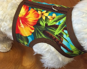 Small Dog Harness, Hawaiian Luau print, Palm tree, tropical, Hibiscus, Made in USA, dog harnesses, pet clothing
