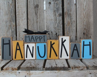 Hanukkah Chanukah Menorah Jewish Holiday Festival Lights Gift Decor Wood Block Sign Personalized