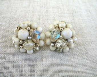 Vintage Cluster Earrings ~ Clip On ~ Cream & Crystal Beads