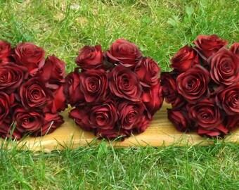 Simple and elegant black magic open rose bridesmaid bouquet