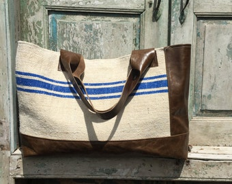 Handmade Bag created from Brown Leather and vintage French Grain Sacks