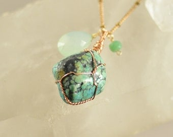 Wire Wrapped Turquoise, Aqua Chalcedony and Chrysoprase Pendant on Long Raw Brass Chain Necklace