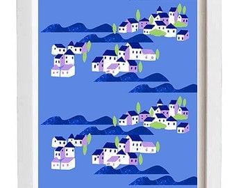 """Sea villages art print - 11""""x15"""" - archival fine art giclée print"""