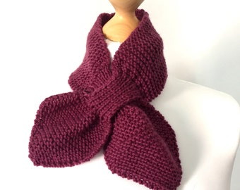 Ascot scarf hand knitted keyhole scarf in pink