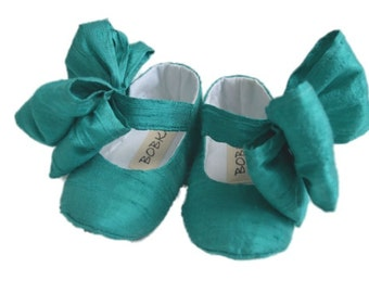 Mary Jane Shoes With Large Bow For Baby Girl, Newborn, Shower Gift, Toddler Flats or Booties by Bobka Baby