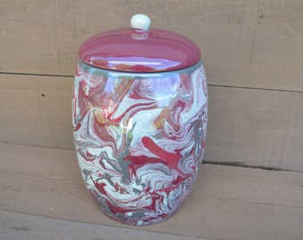Extra Large Ceramic Cookie Jar or Canister - Marble Swirls in Shades of Raspberry, Plum, and Taupe