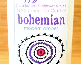 Bohemian Modern Amber - Scented Hand Cream for Knitters and Crafters - 8oz Jumbo HAPPY HANDS Shea Butter Hand Lotion