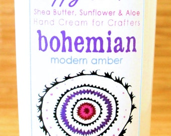 Bohemian Modern Amber - Scented Hand Cream for Knitters and Crafters - 4oz Medium HAPPY HANDS for Knitters Shea Butter Hand Lotion