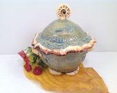 Lidded green pot/jar/lidded jar/sugar bowl/green