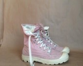 vintage 1990's two toned faded pink lace up canvas kicks platform club sneakers fold down Palladium