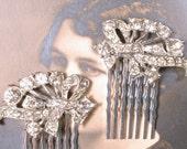 Bridal Hair Comb Pair, Art Deco Rhinestone Vintage Silver Crystal Dress Clips 1920 Hair Accessory, Antique Flapper Headpiece Gatsby Wedding