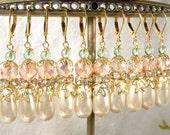 Blush Pink, Mint Green, Ivory Pearl Bridesmaid Earrings, Gold Crystal, Rhinestone, Pearl Dangle Earrings, Rustic Country Wedding Gift Sets