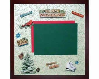 WINTER WONDERLAND Premade Memory Album Page ( Mahogany Gallery Wood Shadow Box Frame Sold Separately)