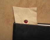 Grichels leather bookmark - distressed cream with red eye