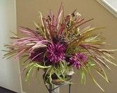 Fall Floral Arrangement, Fall Centerpiece, Eggplant and Sage Grassy Flower Arrangement, Wild Fall Arrangement