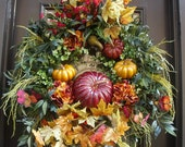 Pumpkin Wreath, XL Fall Wreaths, Fall Wreath, Elegant Fall Decor, Thanksgiving Wreath, Cornucopia, Wreaths for Large Doors Wreath