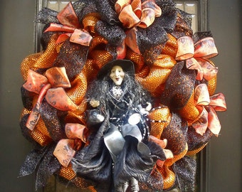 Witch Wreath, Witch Halloween Wreaths, Deco Mesh Wreath, Black and Orange Halloween Decor, Witch Halloween Wreath