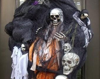 Lighted Halloween Wreath, Grim Reaper Halloween Wreath, Eerie Halloween Wreath, Skull Wreath, Skeleton Wreath