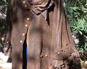 showdiva designs READY to SHIP Distressed Brown Leather Cape Coat with Layers of Ruffles n Sculpted Flower n Hints of Gold