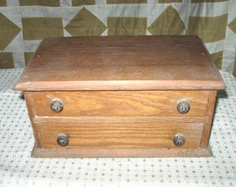 Vintage Wooden SEWING Cabinet-Box with two drawers Country Farmhouse Antique