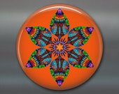 mandala art refrigerator magnet, kaleidoscope art magnet, orange and blue kitchen decor, large magnet, MA-MAND-32