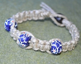 Surfer Phatty Thick Hemp Bracelet Or Anklet With African Trade Beads