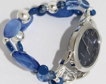 Blue Bliss Interchangeable Beaded Bracelet Watch Band