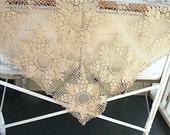 Vintage Crocheted Tablecloth, Ecru, lace, Handmade, Wedding tablecloth,